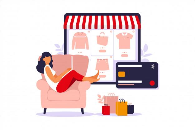 Imagen De Mujer Haciendo Compras En Línea