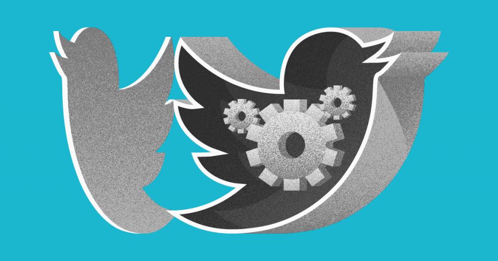 Logo De Twitter Con Engranajes